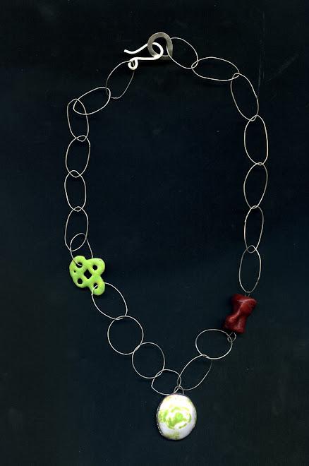 K-42, silver, coral, copper, enamel