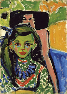 Fränzi in front of Carved Chair by Ernst Ludwig Kirchner, 1910