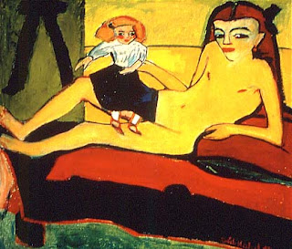 Young Girl with Doll by Ernst Ludwig Kirchner, 1911