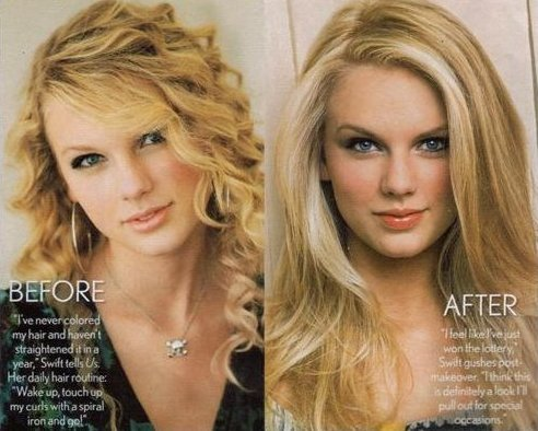 More from taylor-swift-hair.blogspot.com. Swift is better off with her curly