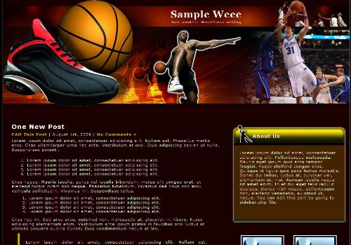 Free Wordpress Basketball Sport Web2.0 Theme