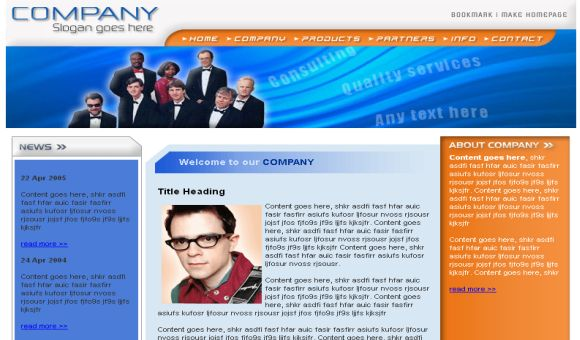 Free HTML Company Business Blue Website Template