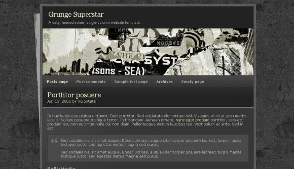Free HTML Grunge Black Website Web2.0 Template