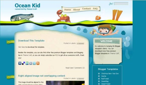 Free Bleu Ocean Sea Blogger Template