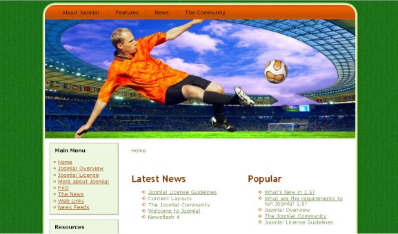 Free Joomla Soccer Teams Theme Template