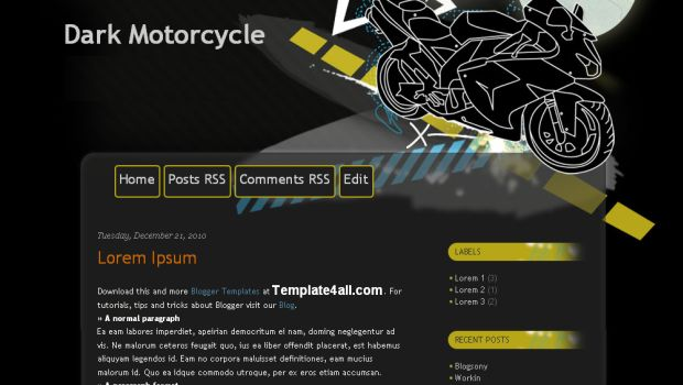 Motorcycle Dark Black Blogger Template