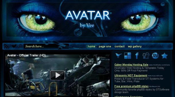 avatar cinema movies blue wordpress theme free cms. Black Bedroom Furniture Sets. Home Design Ideas