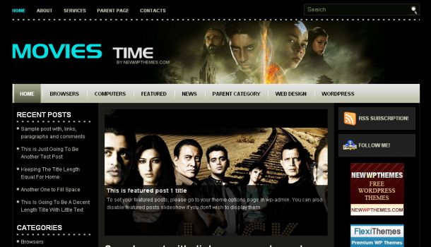 Movies Black Blue Magazine Wordpress Website Theme