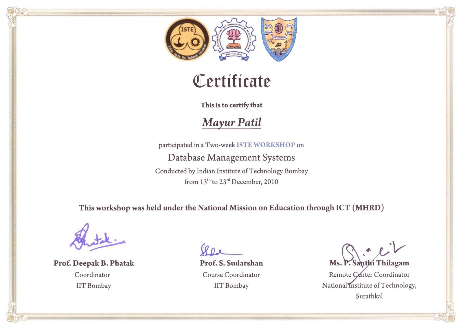 Attended 2 Week ISTE Workshop on DBMS Conducted by IIT Bombay | ॐ ...