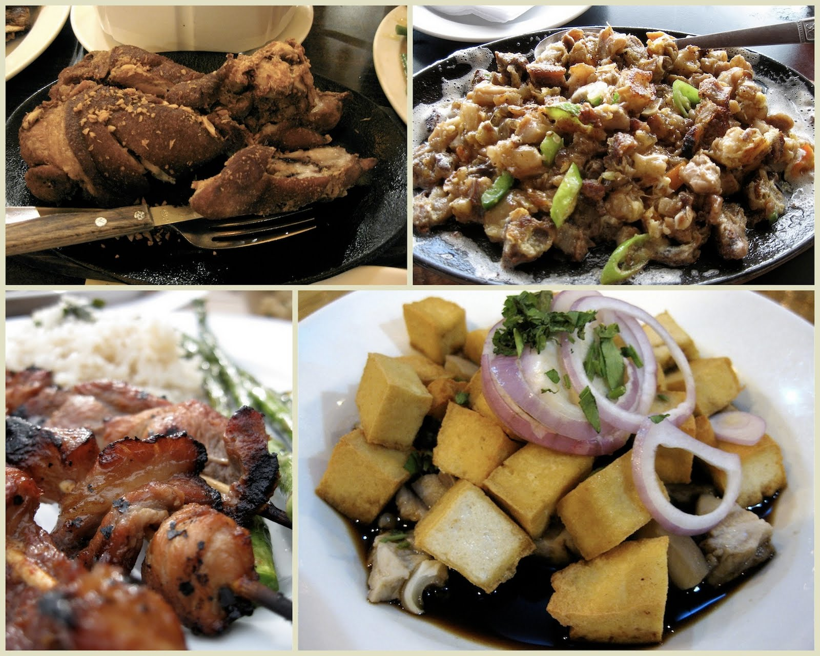 Of thin skins and filipino food tangled noodle pork quartet clockwise from top left crispy pata sizzlig sisig tokwat baboy tofu pork pork bbq skewers forumfinder Images