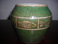 Green Jar with Fish Etching Post-Fired