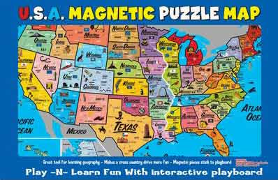 free map of 52 states in USA: Puzzle magnetic map of 52 states in