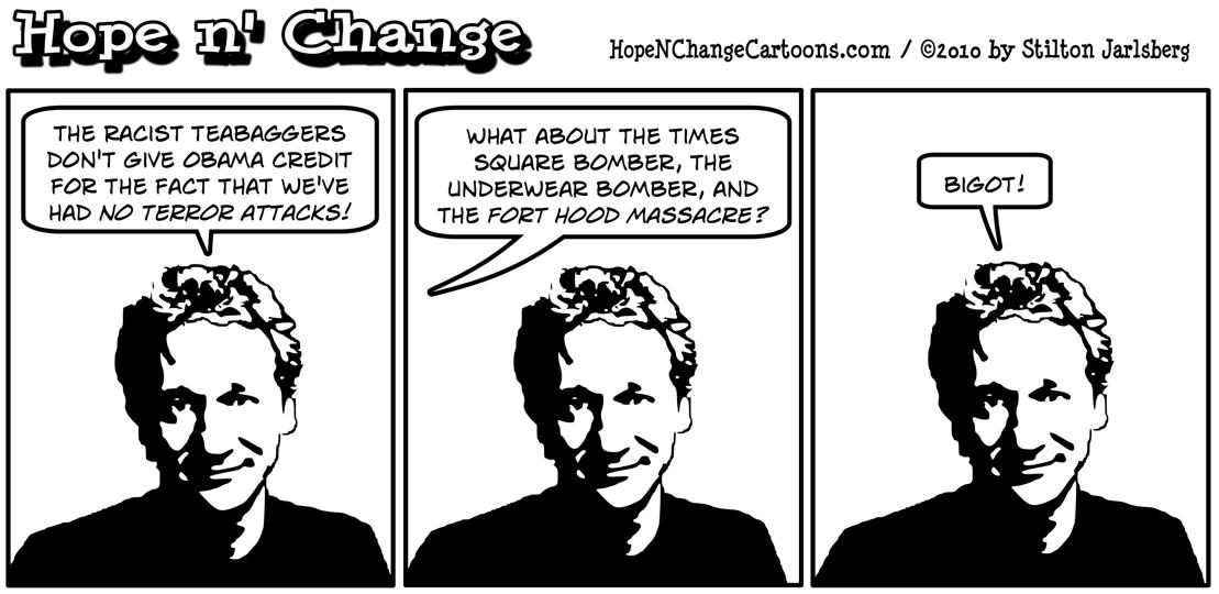 Bill Maher forgets Fort Hood attack and declares tea party to be racist; hope and change, hopenchange, stilton jarlsberg