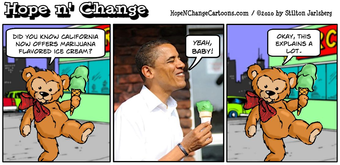California sells marijuana ice cream which comes as good news to president Barack Obama, hope and change, hopenchange, stilton jarlsberg