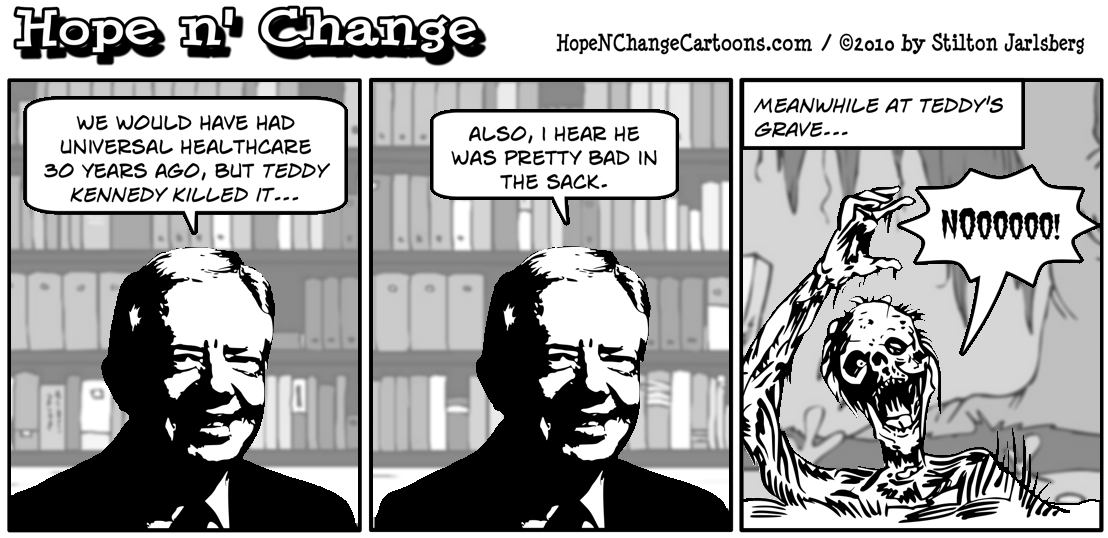 Jimmy Carter goes on 60 minutes to say that Teddy Kennedy killed healthcare bill 30 years ago, hope and change, hopenchange, stilton jarlsberg
