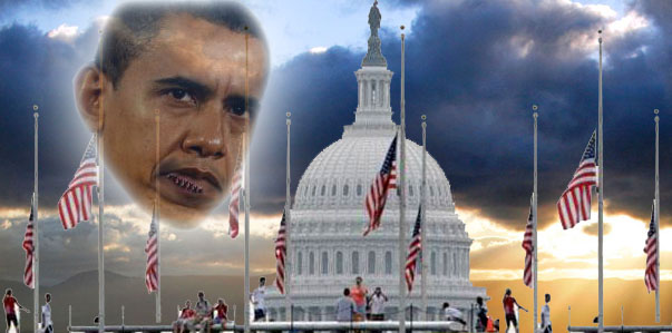 Flags fly at half mast because Barack Obama needed stitches in his lip from a basketball game, hope n' change, hopenchange, hope and change, stilton jarlsberg