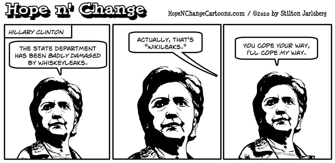 Hillary Clinton confuses wikileaks and whiskeyleaks, hope n' change, hopenchange, hope and change