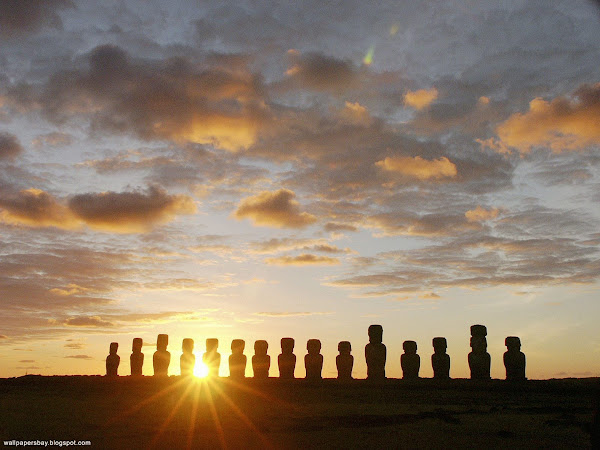 Moais at Dawn, Ahu Tongariki, Easter Island, Chile , wallpapers wallpaper, background wallpaper, wall paper wall, wall papers for wall, wallpaper for desktop, desktop wallpaper, download to wallpapers, wallpaper pictures, wallpaper for image, 3d wallpaper wallpapers