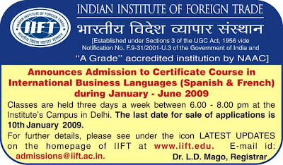 The Indian Institute of Foreign Trade Certificate course in International Business Languages (Spanish, French)
