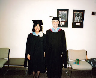 Graduation day, May 13, 1989, Northern Illinois University, DeKalb, Illinois. With me is my great friend Toon.