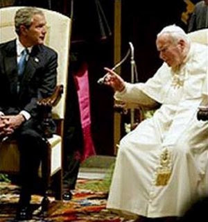 Bush being scolded by Pope John Paul