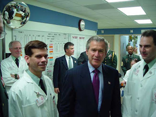 Bush preening at Walter Reed Army Hospital