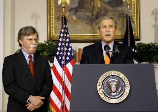 Former U.N. ambassador John Bolton with his Patron George W. Bush