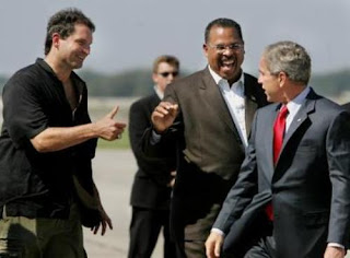 Bush being greeted by former pro football quarterback Bernie Kosar and Ken Blackwell, the Ohio Secretary of state who is suspected of widespread vote fraud in the 2004 election, enabling George W. Bush to continue in his occupation of the office of President of the United States of America. Read about him here: http://www.freepress.org/departments/display/19/2007/2553