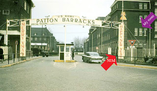 Patton Barracks, Heidelberg, Germany. The 503d Trans Co. is on the right. My room is on the second floor.