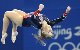 Shawn Johnson in her gold medal winning performance on the balance beam