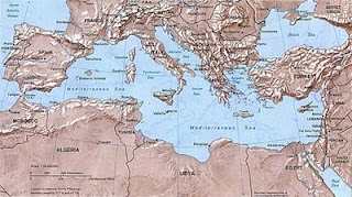 The Mediterranean Sea and surrounding countries