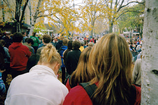 If you look close enough you can see Bruce Springsteen. He appeared at a rally for John Kerry on October 28, 2004 in Madison, on West Washington Avenue and Bassett Street. I was less than a third of the way back in a crowd of 80,000 people. It was close enough. The sound was good, and he had the audience spellbound. Photo credit: truegangsteroflove