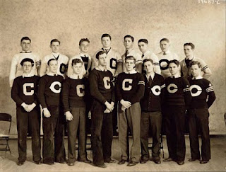 The Mount Carmel 1934 football team. My dad is in the top row, at the extreme right