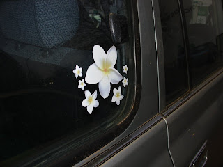 flower stickers on car