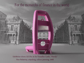 Jeff Koons parodied by lili-oto on his exhibition at Versailles Castle,  for the monarchs of the finance in the world, the golden parachute, the only work of art news for the whole year, the artistic movement of the new relativity, artjacking, jamming culture, 2008