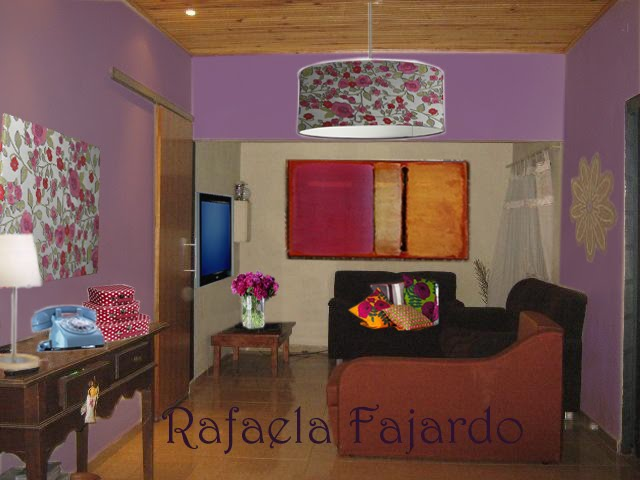 pintar as paredes de lilás, seguindo uma das cores do tecido da tela