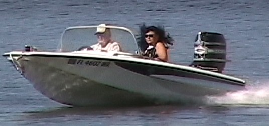 hubby and me in our classic ski boat