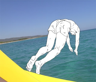 photography and drawing - invisible jumping to the water