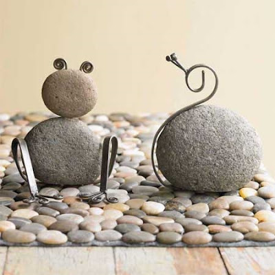snail and from made of stone and metal