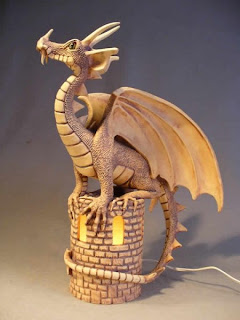 pottery  dragon lamp
