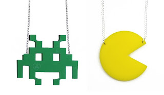 Pacman and space invader pendants