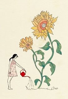 big flower, small woman illustration