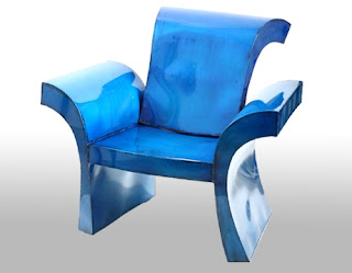 Metallic Blue Lotus Armchair