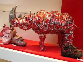 Recycled Coca-Cola Cans Art - Rhinoceros