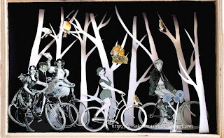 bike and trees Paper Sculptures