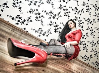 red heel shoe girl
