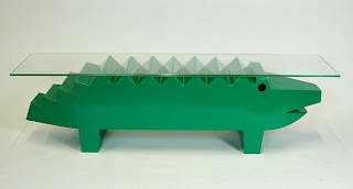 green crocodile table sculpture
