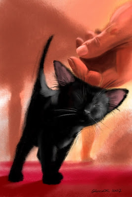 black kitten digital painting