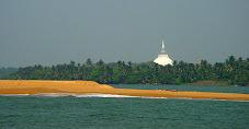 Kalutara beach, lagoon & stupa.  Mangoosteen  too.