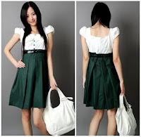 Style Pakaian Korea Terbaru Tahun 2012 PD-0981KoreaBalloonSleevesHigh-Wais
